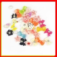 AKSESORIS HP NAIL ART 3D KAWAII RESIN MIX BOW FLOWER DECORATION DIY SA