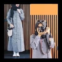 Harga Terbaik Baju Atasan Kemeja Tunik Wanita Lengan Panjang - Plaid