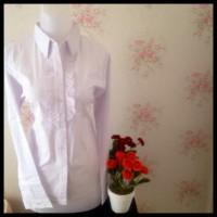 Super Promo Kemeja Blus Putih Wanita Kantor Polos Renda ...