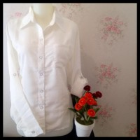 New Sale Kemeja Blus Putih Wanita Kantor Zara Lembut KantongU002Fsaku