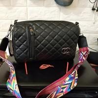 Tas Wanita Branded Real Pict Murah Chanel Slempang Tabung Warna Black