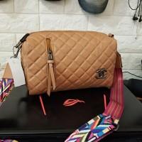 Tas Wanita Branded Real Pict Mura Chanel Tabung Brown