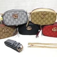 BARU Tas Wanita Murah Gucci Belt Canvas Import Tas Pinggang Selempang
