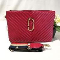 Terbaru Tas Wanita Branded MJ Chanel Chevron Clutch Merah Biru Pink