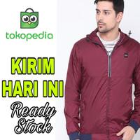 Jaket Pria Parasut Cressida Original Warna Merah Maroon Resleting