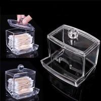 Kotak Acrylic Make Up Kapas Tusuk Gigi Serbaguna - Transparan