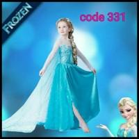 Kostum Elsa Frozen Import Baju Dress Pesta Ulang Tahun Anak