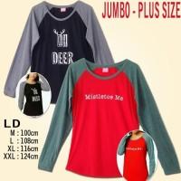 Branded Bigsize Raglan Henley Kaos Lengan Panjang Wanita / Premium