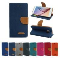 Canvas Samsung J4 2018 - Flip Cover Denim - Wallet Flip Case Casing