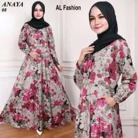 Maxi Emma (08) Bunga Baju Muslim Wanita Gamis Model Kekinian Terbaru
