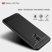 Softcase TPU Rugged Armor Carbon Cover Case Casing HP Samsung A6 Plus