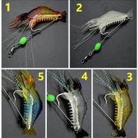 Umpan Pancing Udang Glow 9cm Fishing Soft Lure Fake Bait paket 5pcs