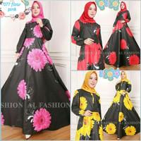 Trend Busana Muslim gamis maxy bunga ima flower baju wanita maxi 77