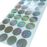 Sticker Hologram Original Silver Bulat ukuran 3 x 3 CM 1Lbr isi 25 Pcs