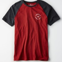 AE Tshirt GRAPHIC RAGLAN RED Original - Kaos Pria Ori BRANDED