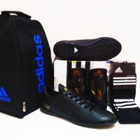 PAKETAN HEMAT BERKUALITAS!! Sepatu Futsal Predator 18 IC (Black Out)