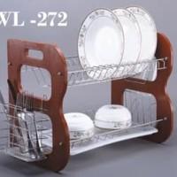 WL 272 Rak Piring Stainless 2Susun Bingkai Kayu Bentuk B