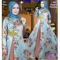 5430 Baju gamis blue dress biru shabby chic kembang gaun pesta murah