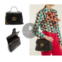 TAS GUCCI GG MARMONT SMALL QUILTED BLACK LEATHER SHOULDER BAG ORIGINAL