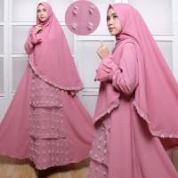 PINK Gamis Set Wollycrepe Rubiah Tumpuk Syari Baju Busana Muslimah