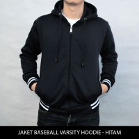 Jaket Pria BIG SIZE Jaket Polos Baseball Varsity Hoodie Hitam XXL XXX