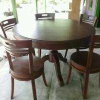 kursi makan set 5 kursi meja bulat minimalis kayu jati