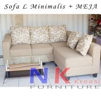 Sofa Kursi Ruang Tamu L putus Minimalis, sofa sudut mewah + MEJA TAMU