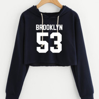 Sweater Crop Topi Brooklyn 53 baby terry/black/Marron/Hijau army
