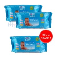 Tissue Basah Pure Baby Hand & Mouth Baby Wipes isi 60 Aloe Vera