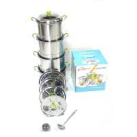 Panci Stokpot Set Ukuran 22 24 26 28 cm Stainless Steel Dengan Steamer