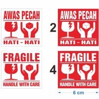 Sticker Fragile handle with care Stiker Awas Pecah 6 x 5,5 cm