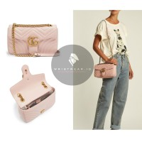 TAS GUCCI - GG MARMONT LIGHT PINK SMALL QUILTED LEATHER SHOULDER BAG