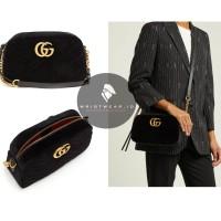 TAS GUCCI GG MARMONT SMALL QUILTED BLACK VELVET CROSSBODY BAG ORIGINAL