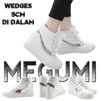 MEGUMI Sepatu Cewek Korea Sekolah Kuliah/Sneaker Wedges Putih Slash