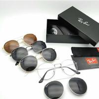 Kacamata clipon rayban super (frame bisa d ganti lensa) full set
