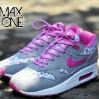 TERLARIS sepatu nike air max 1 floral grey pink