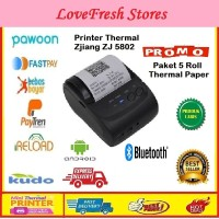 Paket Mini Printer Thermal Bluetooth + 5 Roll Paper