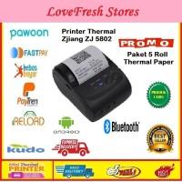 Paket Mini Printer Thermal Bluetooth + 5 Roll Paper