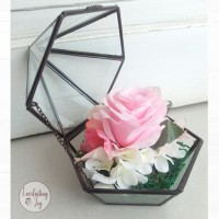 Bunga Terrarium Mawar Pink-Putih/ kado hadiah unik