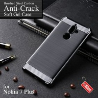 Softcase TPU Anti Crack Carbon Black Cover Case Casing HP Nokia 7 Plus