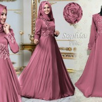 A11 Baju Gamis Pesta Muslim Remaja Wisuda Modern Sefina Bordir Pink