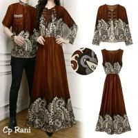 Baju batik couple kapel muslim dress kondangan cewe cowo lengan