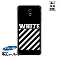 Off White Black Casing Samsung Galaxy J7 Pro Anti Crack Case HP