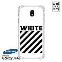 Off White Casing Samsung Galaxy J7 Pro Anti Crack Anticrack Case HP