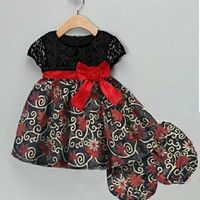 Dress batik anak * TK7 BT21335 Black Kids Motif Red Spiral Marsha Dres