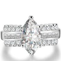 Cincin Lapis Emas Putih Berlian Wanita Imitasi Batu Lancip BR121 Ter