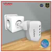 Vivan 4 Usb Ports Charger (Original) | Cable