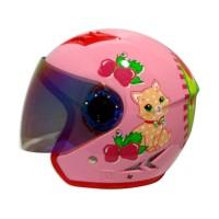 Helm Anak KIDZU Fantasy Strawberry Cat Pink M 10-12 Tahun - SH700