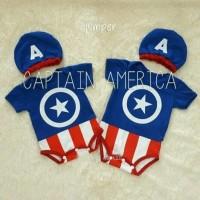 baju kostum bayi anak lucu Jumper Bayi Captain America Topi Baju Jump