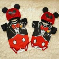 baju kostum bayi anak lucu Jumper Bayi Jas Mickey Mouse Topi Lucu Baj
